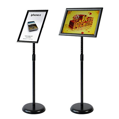 AboutDisplay Adjustable Snap Frame Stand Pedestal Poster Stand ,Sign Holder Stand With Poster frame for 8.5x11inchs Graphics,Both Vertical and Horizontal Sign Displayed, (8.5x11, Black)
