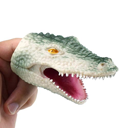 Livoty 3.3in Shark/Crocodile Finger Puppet Baby Infant Kid Toys Mini Silica Gel Spoof Toy (Green, Crocodile)