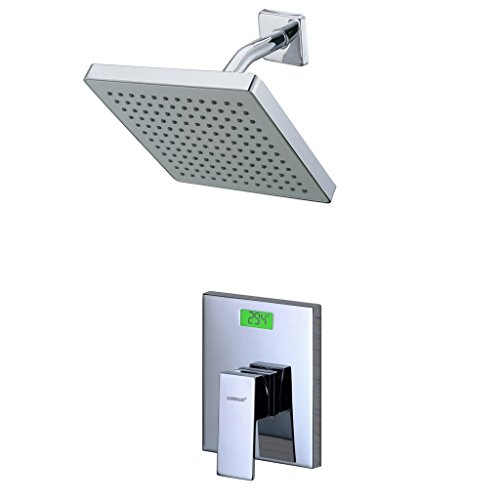 SUMERAIN Pressure Balanced Concealed Shower System Set with Digital Temperature Display Valve and 8