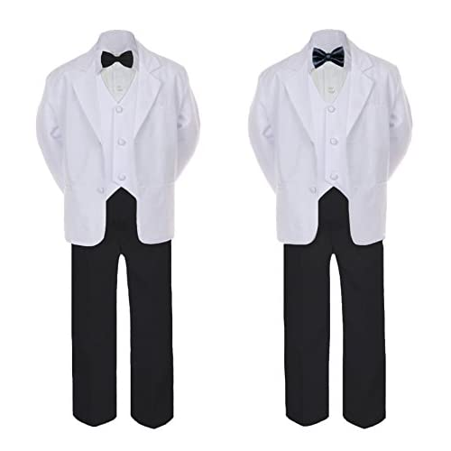 6pc Baby Toddler Boy Teen Formal Black & White Suit Set Satin Bow Tie Sm-20