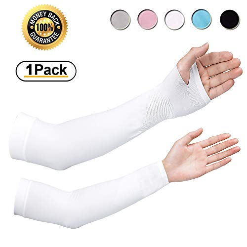 Achiou Cooling Arm Sleeves UV Sun Protection for Men Women Sunblock Cooler Protective Outdoor Sports Gloves Long Arm Cover (White)