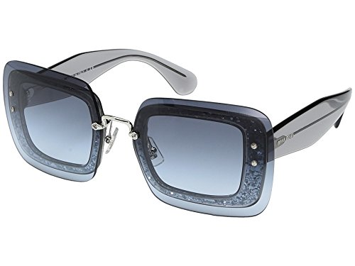 Miu Miu Women's 0MU 01RS Transparent Grey Glitter/Blue Gradient - Sunglass Name Brand