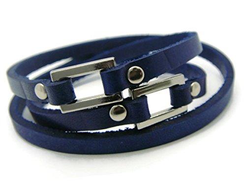 [APECTO Jewelry Quality Leather Adjustable Charm Bangle Wristband Cuff Bracelet (Navy Blue), SR17] (Patrick Starfish Costumes)