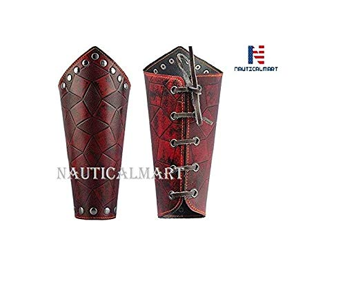 (Leather Armor Medieval Gauntlets Wristband Guard Punk Costume Wide Bracer Arm Cuff for Men Women - Red)