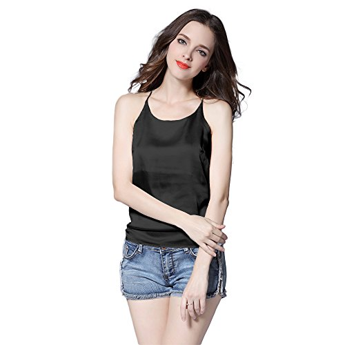 Racerback Silk Camisole - Sexy Women's Silk Tank Top Ladies Racerback Camisole Silky Loose Sleeveless Blouse Tank Shirt with Soft Satin