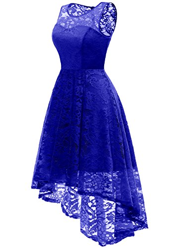 Ballkleid Kleid aus Unregelmässig Cocktailkleider Spitzen Damen Ärmellos Party MUADRESS Royalblau Elegant z5qxwzU