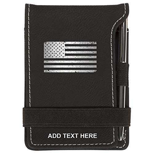 (Personalized Mini Notepad Holder Set - Pocket Memo Pad Jotter Notebook Case - Includes Mini Note Pad & Pen to Jot Notes and Writing To Do List - US Flag Grunge, Black & Silver)