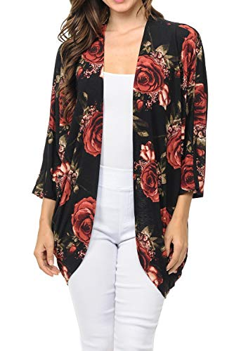 - Auliné Collection Womens USA Made Casual Cover Up Cape Gown Robe Cardigan Kimono SFBW1 Rose Bloom FL Black XL