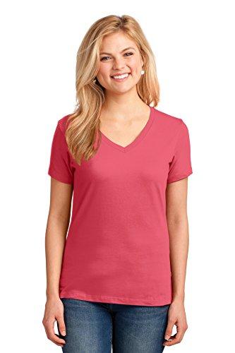 (Port & Company Ladies Core Cotton V-Neck Tee. LPC54V Coral L )