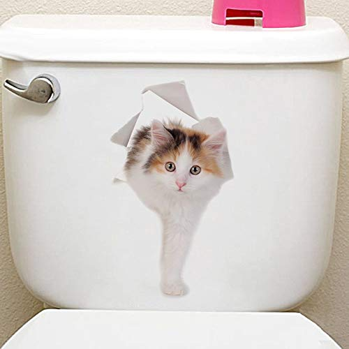 Best Quality Cats 3D Wall Sticker Toilet Stickers Hole View Vivid Dogs Bathroom Home Decoration Animal Vinyl Decals Art Sticker Wall Poster ()