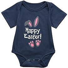 Daoroka Newborn Infant Baby Romper Jumpsuit Boys Girls Happy Easter Cartoon Rabbit Printed Unisex Cute Cartoon Sleeveless Fashion Outfits (70/3M, Navy)