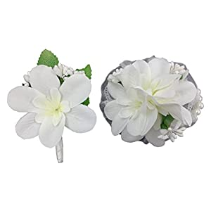 Simple White Corsage and Boutonniere Sets for Prom Artificial Fabric Flowers Winter Spring Wedding Decoration 107