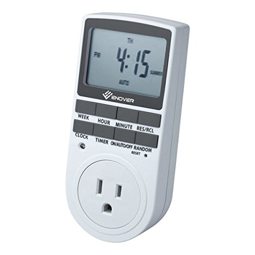 Enover 7 Day / 24 Hour Programmable Digital Weekly Light Switch Timer Plug for Electrical Outlet with Anti-theft Random Option - Switch Mode Plug