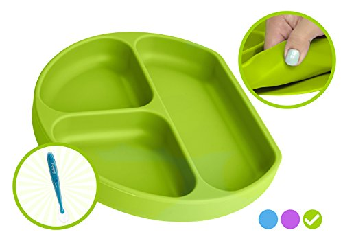 Babiere Silicone Toddler Plate - Powerful Suction Base Stays Put to Highchair - Grip Dish with Divided Sections - BPA & Toxin Free, Microwave & Freezer Safe - Free Silicone Baby Spoon - Green