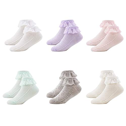 (Bestjybt Baby Girls Eyelet Frilly Lace Socks Newborn Infant Toddler Little Girls Socks 6 Pairs Pack (Mix, S(3-12 months)))