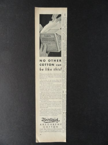 Firstaid Absorbent Cotton, print ad. 3 1/2