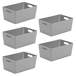 Wham Bam 4.02 Cool Grey Plastic Studio Storage Baskets Office Home & Kitchen Tidy Organiser 25.5 x 17 x 11cm (5 Baskets)