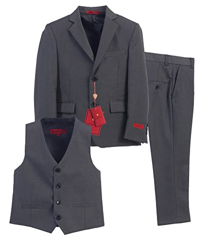 Gioberti Boy's Formal 3 Piece Suit Set, Charcoal, - Boys Charcoal Gray Dress Pants