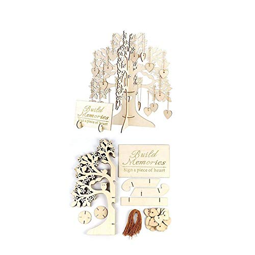 Orcbee  _Wedding Guest Book Tree Wooden Hearts Pendant Drop Ornaments Party Decoration