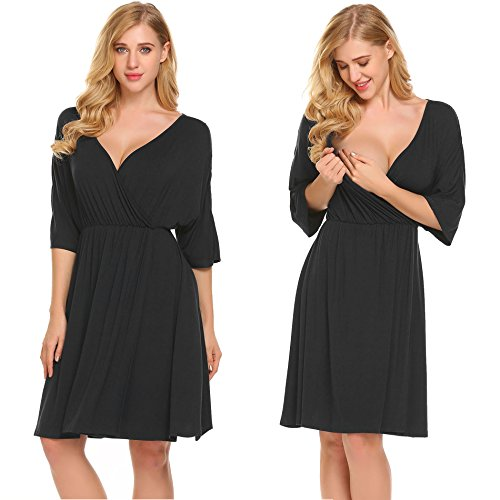(Ekouaer Hospital Nightgown Womens Short Sleeve Maternity Nursing Sleepwear Black)