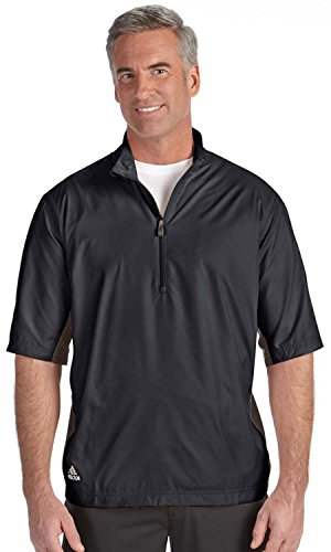 [adidas Golf Men's ClimaLite Colorblock Half-Zip Wind Shirt XL BLACK/BLACK] (Adidas Climalite Colorblock Pullover)