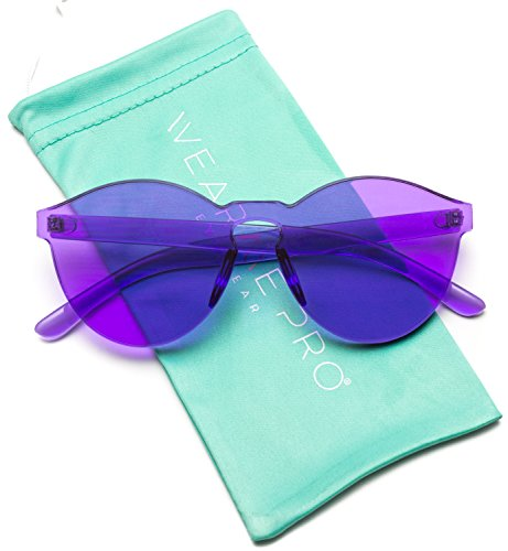 WearMe Pro - Colorful One Piece Transparent Round Super Retro Sunglasses (Purple Sunglasses)