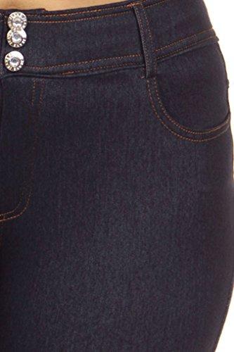 Ladies Plus Size Denim Jeggings with High Stretch Waist, 7257_Navy, L/XL