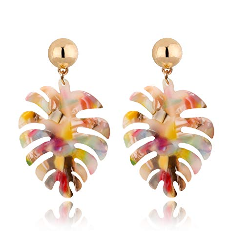 Acrylic Earrings For Women Girls Statement Palm Leaf Earrings Resin monstera Drop Dangle Earrings Fashion Jewelry (Red Floral) - Necklace Shell Jewelry Fashion