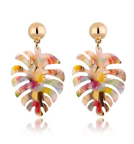 Acrylic Earrings For Women Girls Statement Palm Leaf Earrings Resin monstera Drop Dangle Earrings Fashion Jewelry (Red Floral)