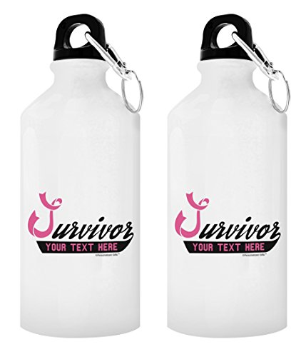 ThisWear Personalized Breast Cancer Gift Survivor with Your Custom Year or Text Pink Ribbon Survivor In Honor of Your Name Personalized Gift 2-Pack Aluminum Water Bottles with Cap & Sport Top White
