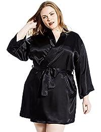 Women's Satin 3/4 Sleeve Plus Size Kimono Robe With...