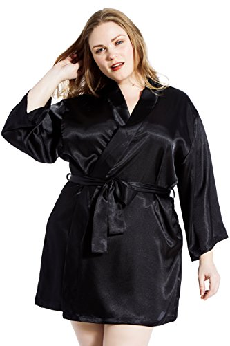 Jovannie Satin Robe Plus Size 3/4 Sleeve with Matching Sash Short Length Valentines Day (Black, 2X) by Jovannie