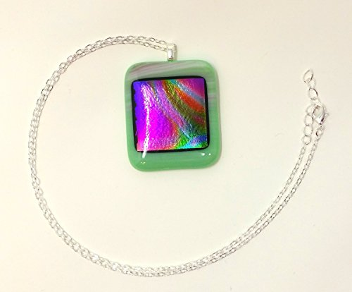Fused Glass Necklace - Lime Dichroic Square