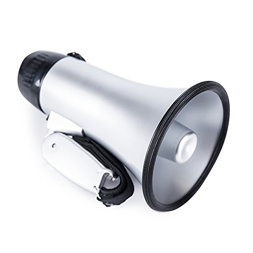 (Sugar home Portable Megaphone Bullhorn 20 Watt Power Megaphone Speaker Voice and Siren/Alarm Modes with Volume Control and Strap (Silver))