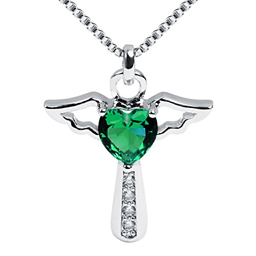 Emerald Religious Cross - Ckysee Necklaces for Women Girls Cross Cubic Zirconia Angel Wing Birthstone Heart Charm Pendant Necklace May- Emerald