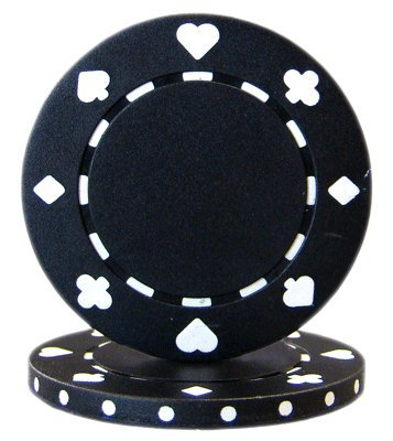 Brybelly Suited Poker Chips (50-Piece), Black, 11.5gm