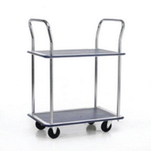 Barton Trolley Steel Frame Non-marking Wheels Capacity 120kg 2- Shelf Chrome Finish Ref PST2 271608