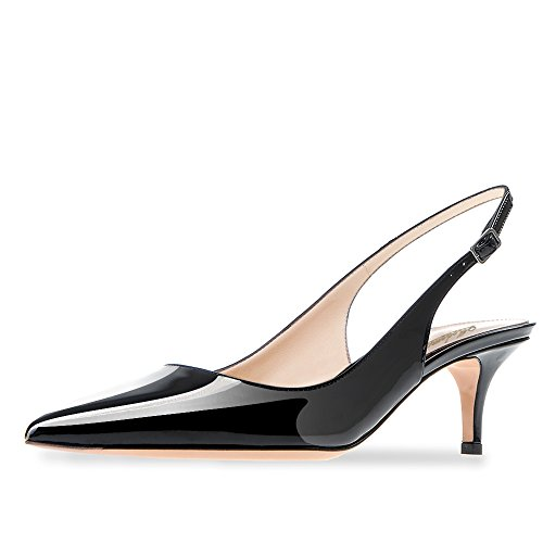 cc624f74623384 Modemoven Women s Black Patent Leather Pointed Toe Slingback Ankle Strap  Kitten Heels Pumps Evening Stiletto Shoes
