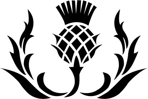 Thistle Flower Scottish Scotland Decal Sticker Car Motorcycle Truck Bumper Window Laptop Wall Décor Size- 6 Inch Wide White Color