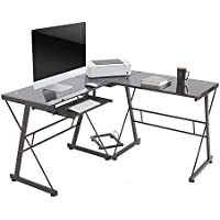 Oshion L-Shape Computer Desk PC Glass Laptop Table with Pull-Out Keyboard Tray Home Office