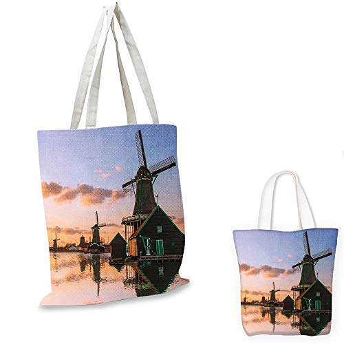 Windmill Decor ultralight shopping bag Traditional Village with Canal Waterfront Dutch Architecture Scenic View canvas lunch bag Multicolor. 15