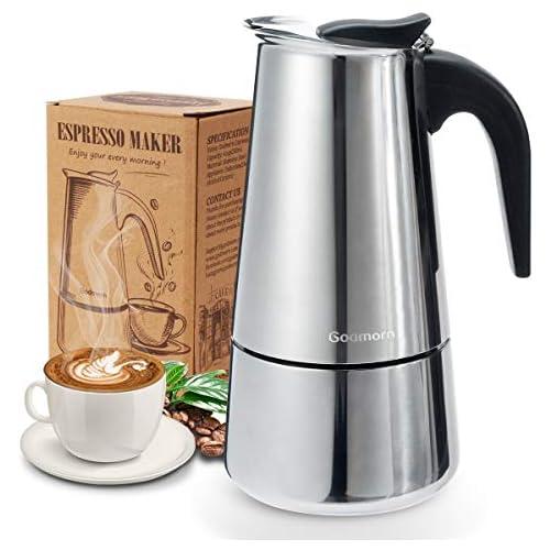 chollos oferta descuentos barato Godmorn Cafetera italiana Cafetera espressos en Acero inoxidable430 6 tazas 300ml Conveniente para la cocina de inducción Cafetera Moka Clásica Plata Perfecta para Uso Doméstico y en la Oficina