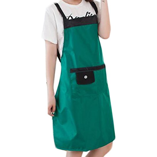 - Nanxson(TM) women long bistro bib PVC apron with pockets AL8043 (green)