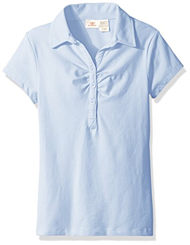 Dockers Big Girls' Uniform Short Sleeve Stretch Jersey Polo with Shirring, Light Blue, M (8/10) by Dockers
