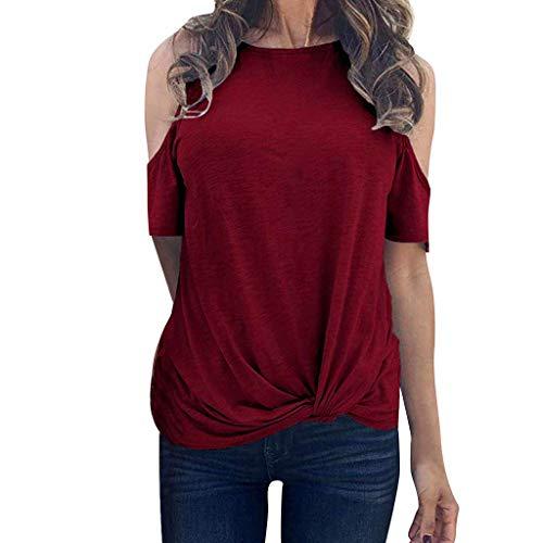 Women's Sexy Tops 2019 Fashion,YEZIJIN Women Cold Shoulder Knot Short Sleeve O Neck Tunic T-Shirt Tops Blouse Wine