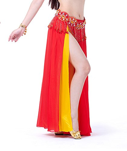 AvaCostume Bollywood Arabic Dance Costume Sides Split Long Skirt, Red Yellow -