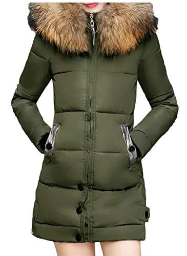 Ispessite Eku Pelliccia Giù Piumino Verde Inverno Lungo Con Donne In Cappotto Cappuccio Il aaxBEw6