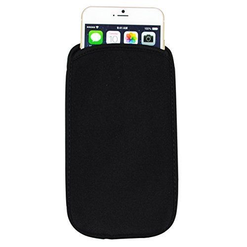 """SumacLife Universal Neoprene Cellphone Pouch Case for 4.5-5.1"""" Cellphones, for Apple Iphone 6 / 6s / Samsung Galaxy S6 / Samsung Galaxy S7 (without case on it)(Black)"""