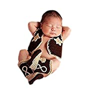 Pinbo Newborn Baby Photography Prop Crochet Knitted Cowboy Vest Shoes