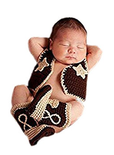 Pinbo Newborn Baby Photography Prop Crochet Knitted Cowboy Vest Shoes (Baby Cowboy Costume)